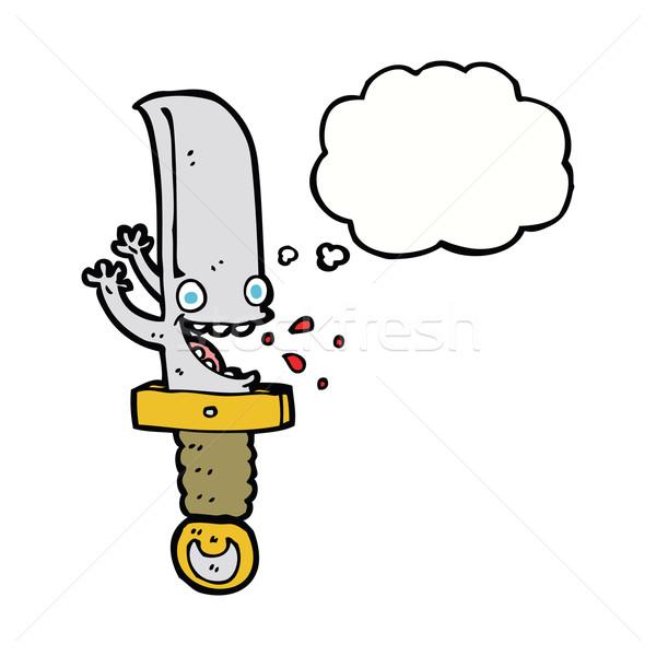Crazy coltello bolla di pensiero mano design Foto d'archivio © lineartestpilot