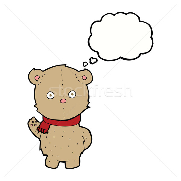 cartoon teddy bear wearing scarf with thought bubble Stock photo © lineartestpilot