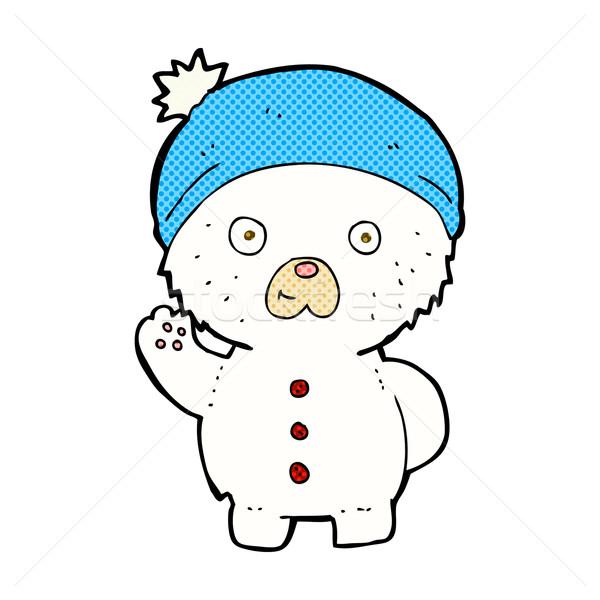 Komische cartoon polair teddybeer winter Stockfoto © lineartestpilot