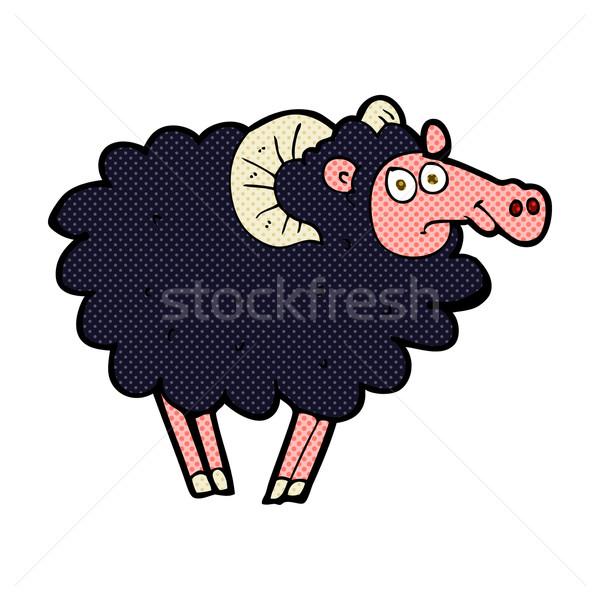 comic cartoon black sheep Stock photo © lineartestpilot