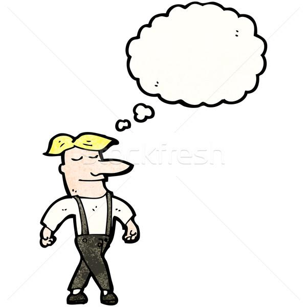 Desenho animado orgulhoso homem falante retro pensando Foto stock © lineartestpilot