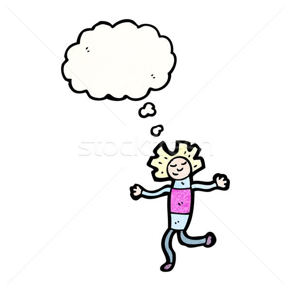 Desenho animado mulher falante retro pensando Foto stock © lineartestpilot