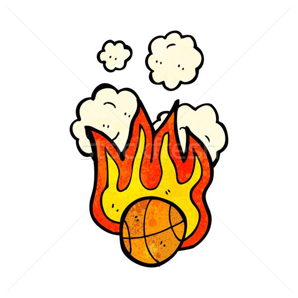 Сток-фото: пылающий · баскетбол · Cartoon · знак · мяча · говорить