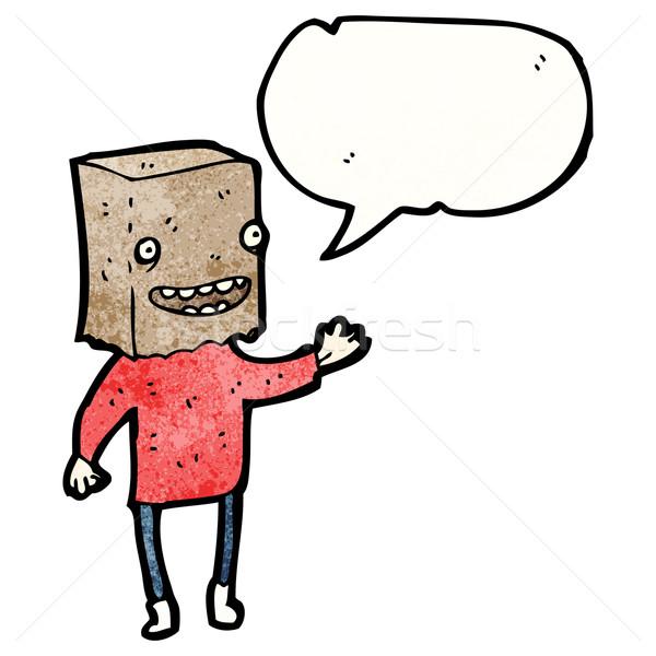 Lelijk man zak hoofd papier retro Stockfoto © lineartestpilot