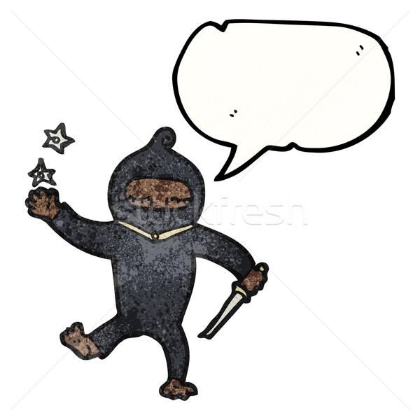 Desenho animado ninja arte retro desenho bonitinho Foto stock © lineartestpilot