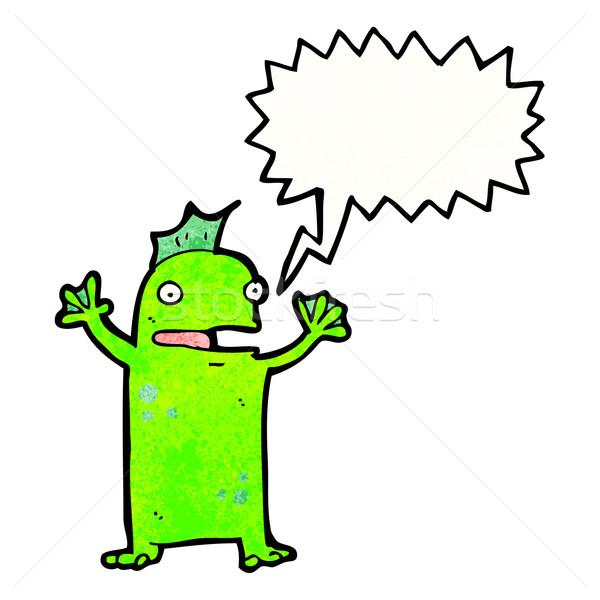 Karikatür mutlu bataklık canavar Retro çizim Stok fotoğraf © lineartestpilot