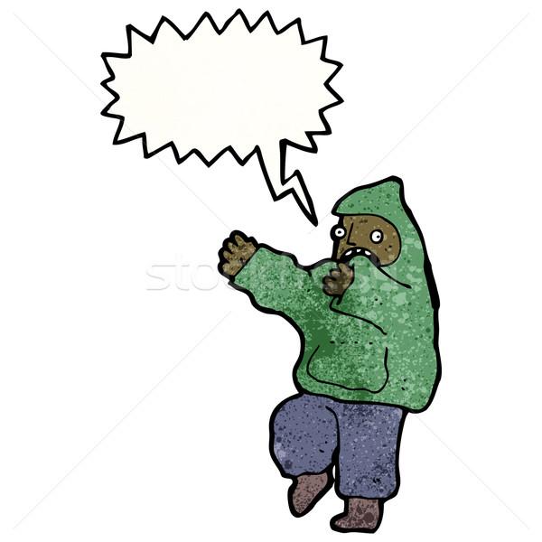 Kiált tini kapucnis pulóver retro rajz Stock fotó © lineartestpilot