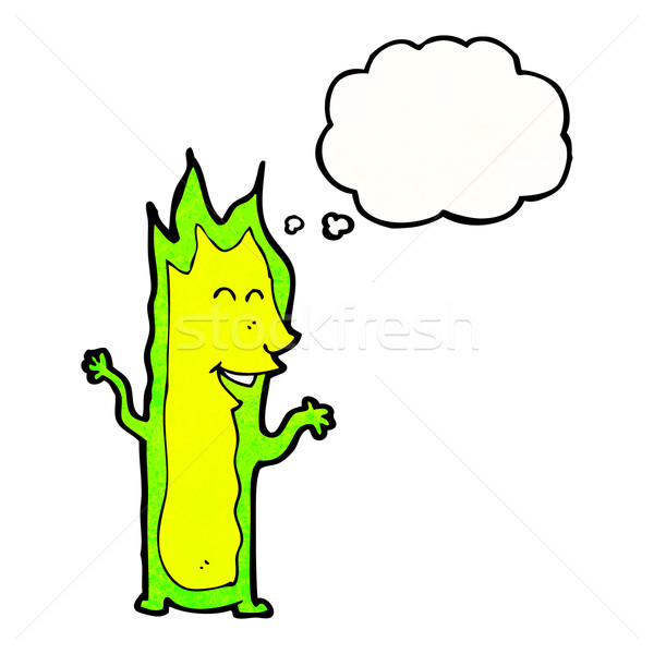 cartoon green fire spirit Stock photo © lineartestpilot