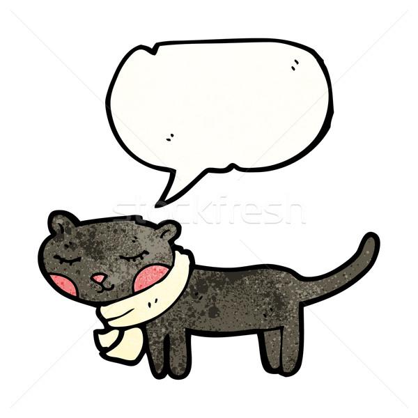 漫画 黒猫 吹き出し 猫 レトロな 図面 ストックフォト © lineartestpilot