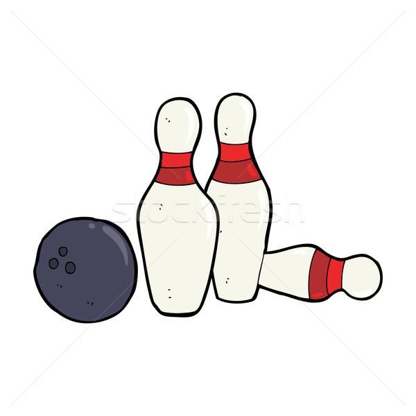 Karikatur Bowlingkugel Hand Design crazy Bowling Stock foto © lineartestpilot