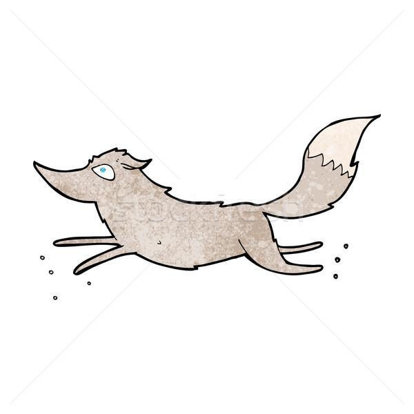 Cartoon loup courir main design animaux Photo stock © lineartestpilot