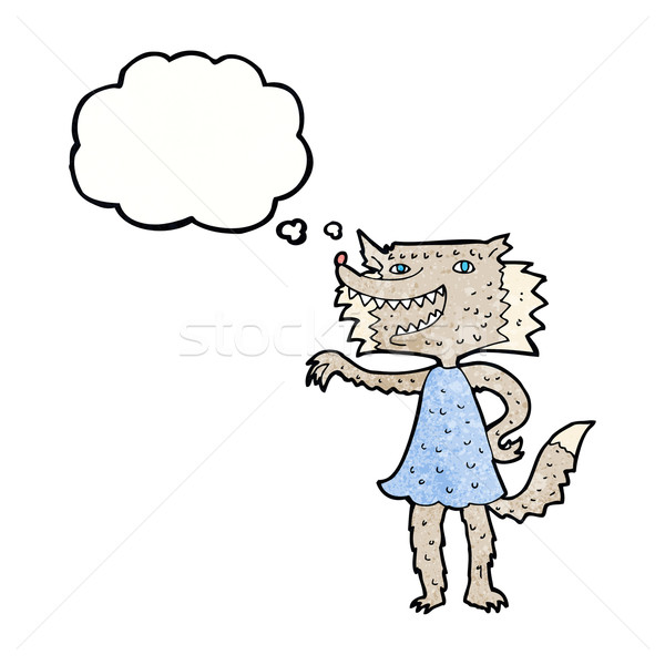 Cartoon волка девушки мысли пузырь женщину стороны Сток-фото © lineartestpilot