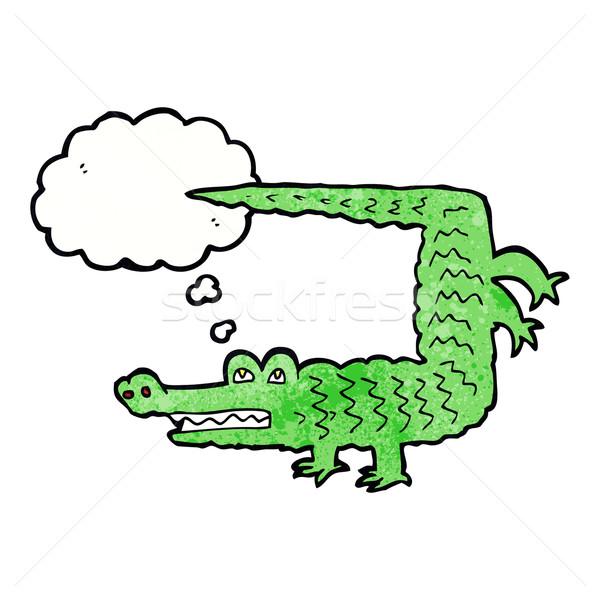 Сток-фото: Cartoon · крокодила · мысли · пузырь · стороны · дизайна · животные