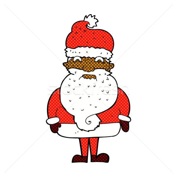 Komische cartoon knorrig kerstman retro Stockfoto © lineartestpilot