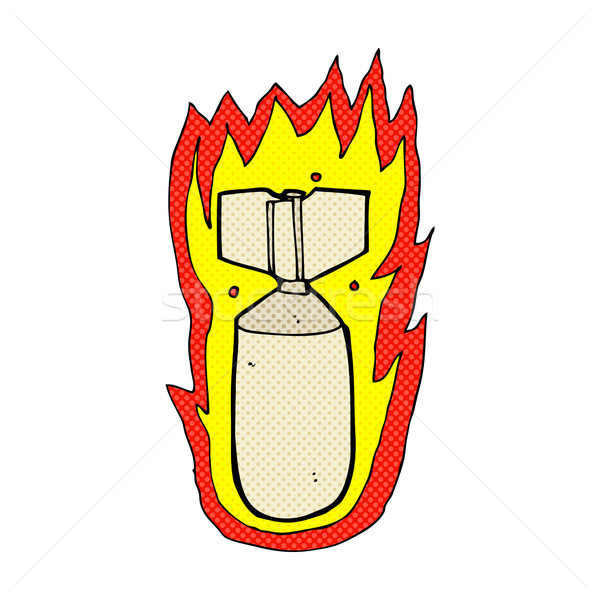 comic cartoon flaming bomb Stock photo © lineartestpilot