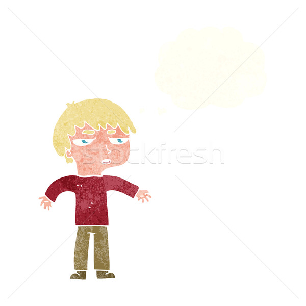 cartoon annoyed boy with thought bubble Stock photo © lineartestpilot