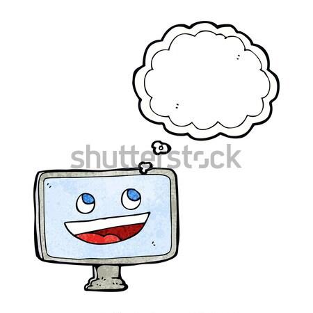 Karikatür bilgisayar ekranı düşünce balonu el dizayn çılgın Stok fotoğraf © lineartestpilot