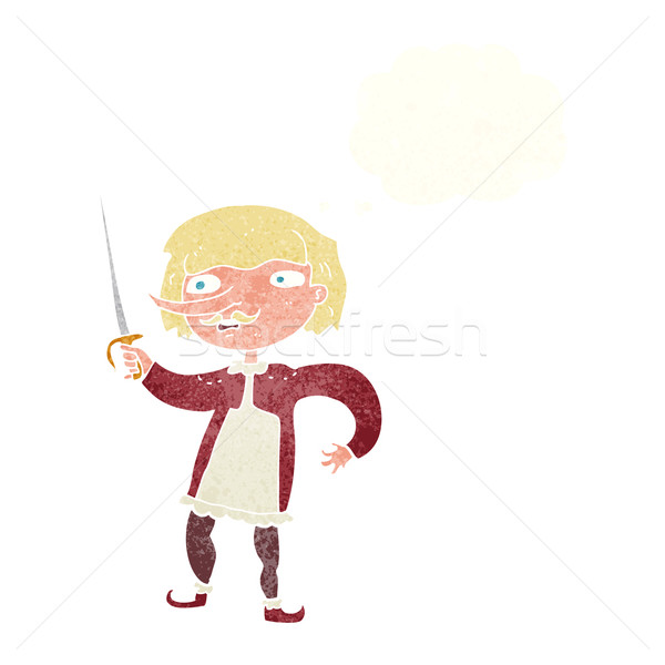 cartoon musketeer with thought bubble Stock photo © lineartestpilot