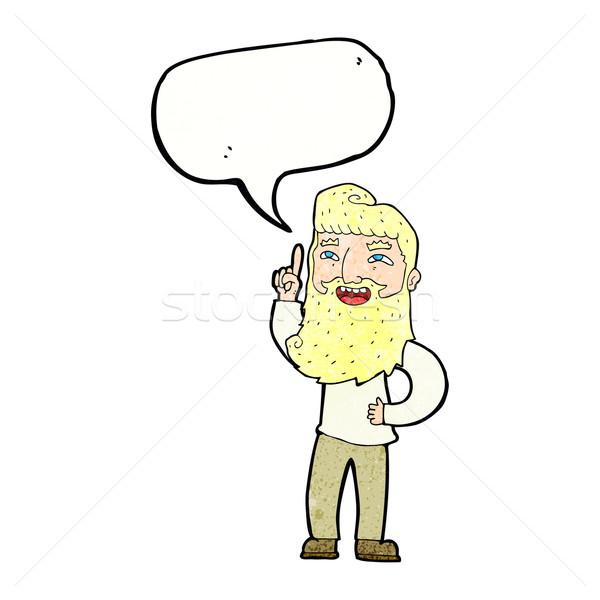 Stock fotó: Rajz · boldog · szakállas · férfi · ötlet · szövegbuborék