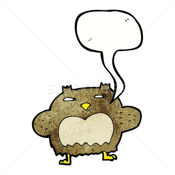 Cartoon подозрительный совы речи пузырь стороны дизайна Сток-фото © lineartestpilot