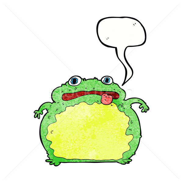 cartoon funny frog with speech bubble Stock photo © lineartestpilot