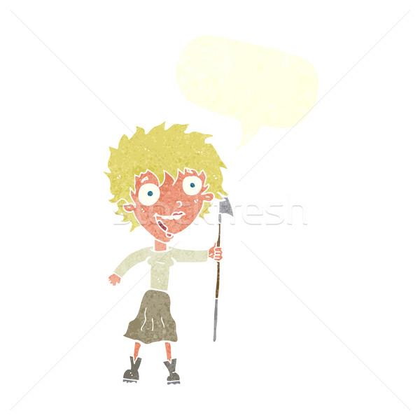 Cartoon fou femme lance bulle main Photo stock © lineartestpilot