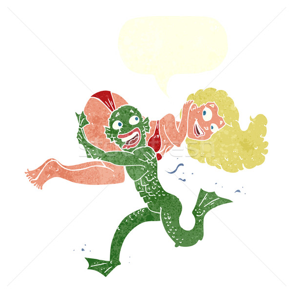cartoon swamp monster carrying girl in bikini with speech bubble Stock photo © lineartestpilot