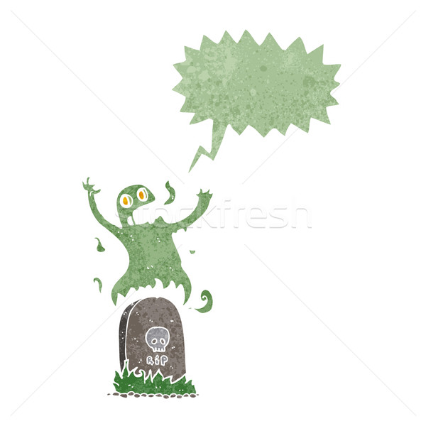 Desenho animado fantasma grave balão de fala mão Foto stock © lineartestpilot