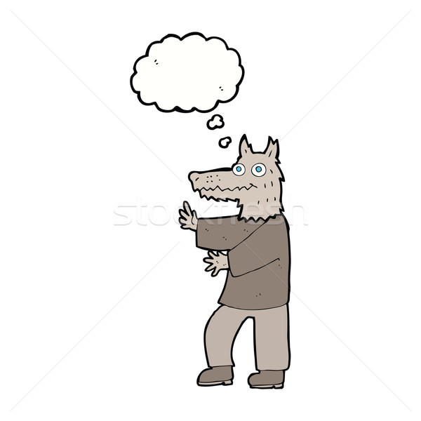 cartoon funny werewolf with thought bubble Stock photo © lineartestpilot