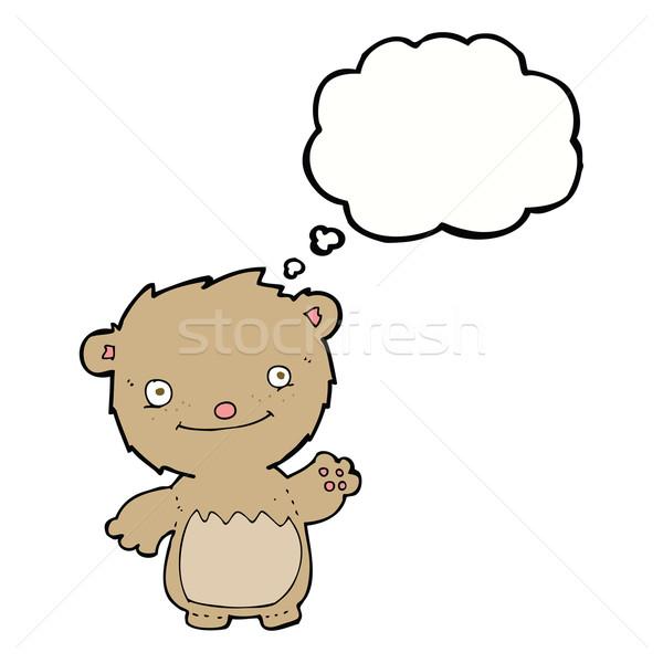 Cartoon мишка мысли пузырь стороны дизайна Сток-фото © lineartestpilot