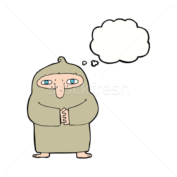 cartoon monk in robe with thought bubble Stock photo © lineartestpilot