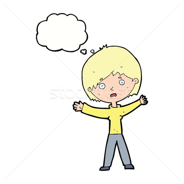 Cartoon donna bolla di pensiero mano design Foto d'archivio © lineartestpilot