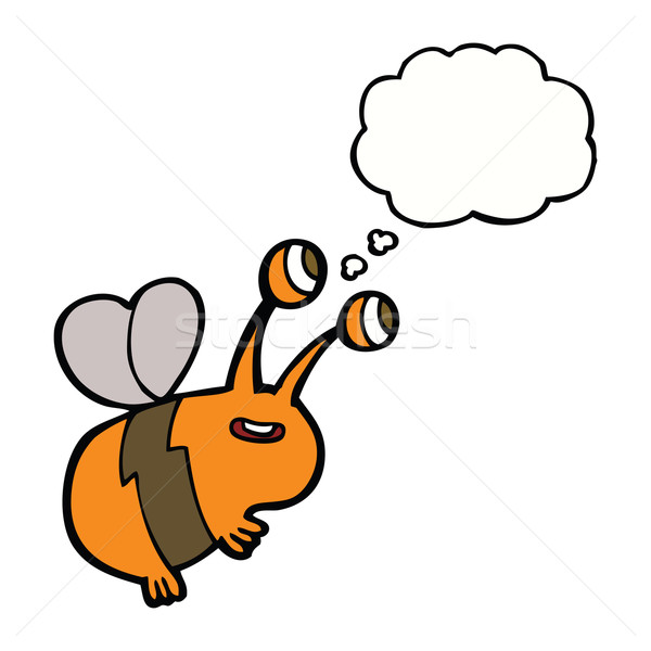 Stock photo: cartoon happy bee with thought bubble
