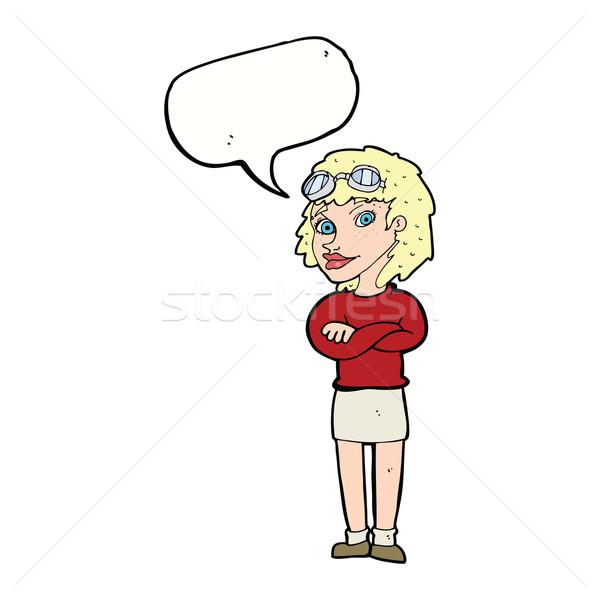 Cartoon mujer armas seguridad gafas de protección discurso Foto stock © lineartestpilot