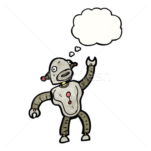 Stok fotoğraf: Dans · robot · karikatür · konuşma · Retro · düşünme