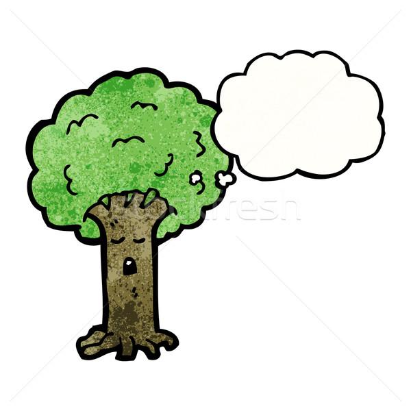 Cartoon drzewo twarz mówić retro myślenia Zdjęcia stock © lineartestpilot
