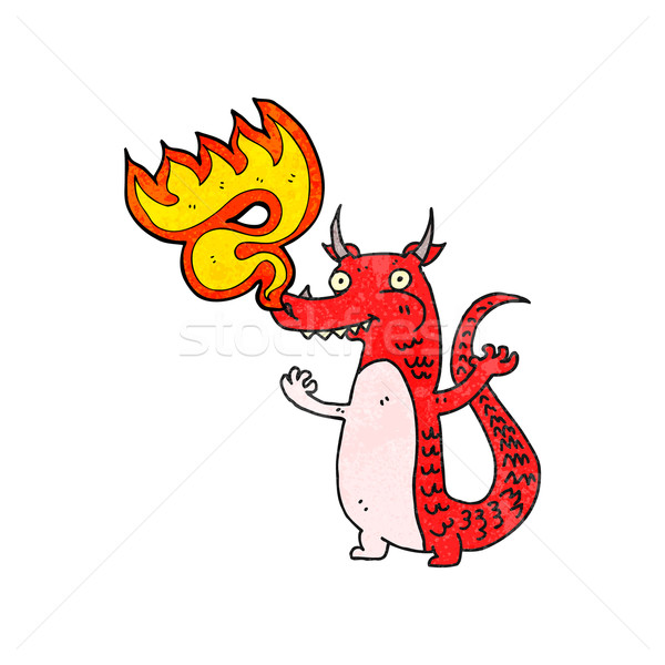 fire breathing cartoon little dragon Stock photo © lineartestpilot