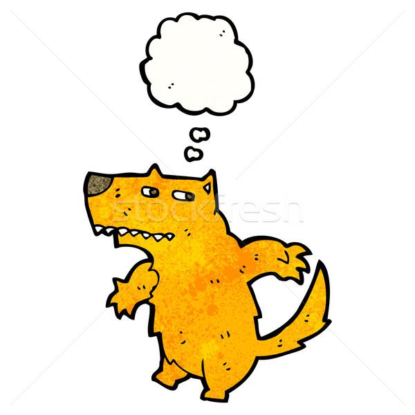 Cartoon cane bolla di pensiero arancione retro disegno Foto d'archivio © lineartestpilot
