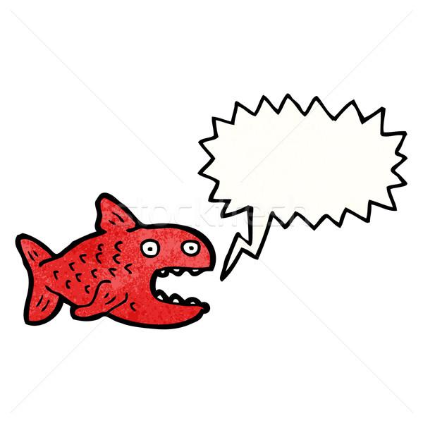 Cartoon пиранья речи пузырь красный ретро рисунок Сток-фото © lineartestpilot
