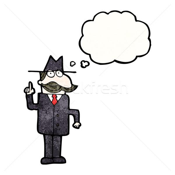 Cartoon détective oeil homme art rétro Photo stock © lineartestpilot