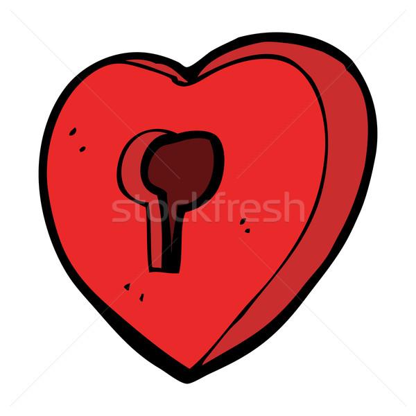 Karikatür kalp anahtar deliği dizayn sanat Retro Stok fotoğraf © lineartestpilot