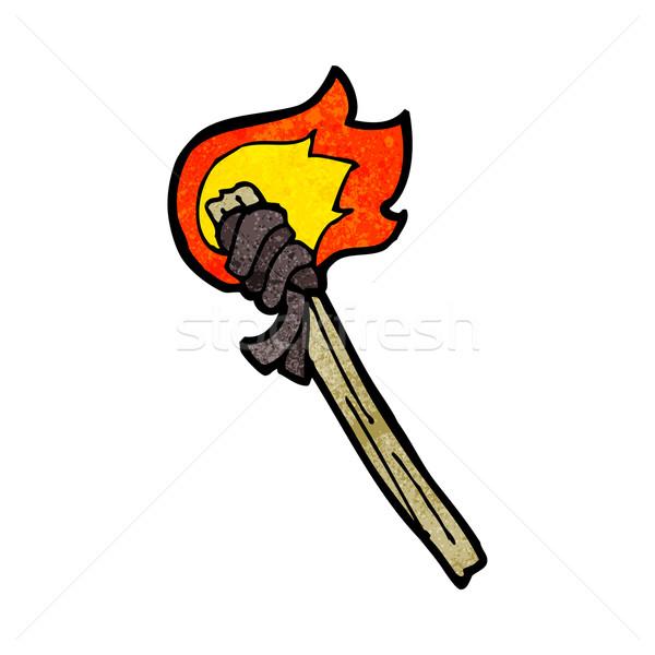 Desenho animado ardente tocha mão projeto louco Foto stock © lineartestpilot