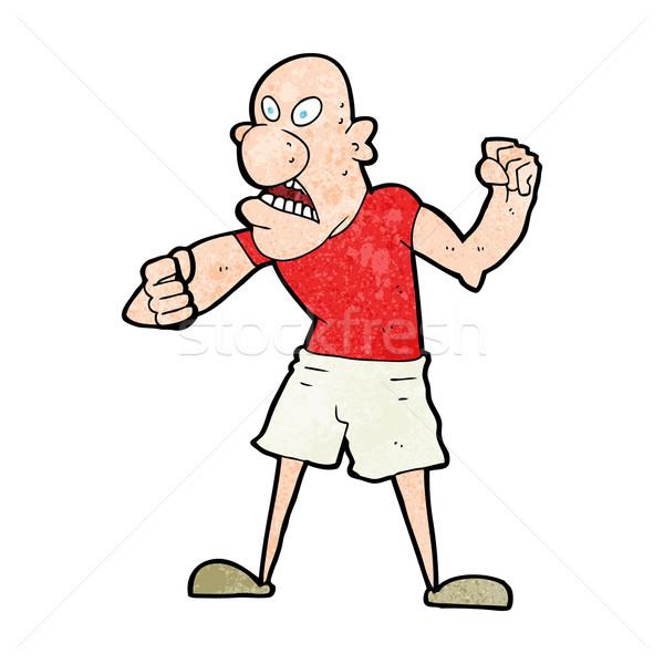 Cartoon gwałtowny człowiek strony projektu crazy Zdjęcia stock © lineartestpilot