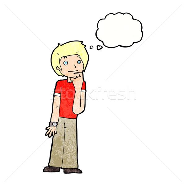 Cartoon chłopca bubble myśl strony człowiek projektu Zdjęcia stock © lineartestpilot