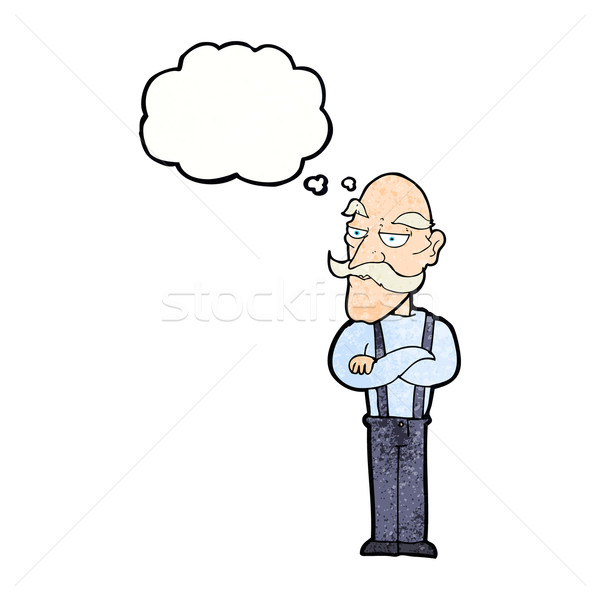 cartoon bored old man with thought bubble Stock photo © lineartestpilot