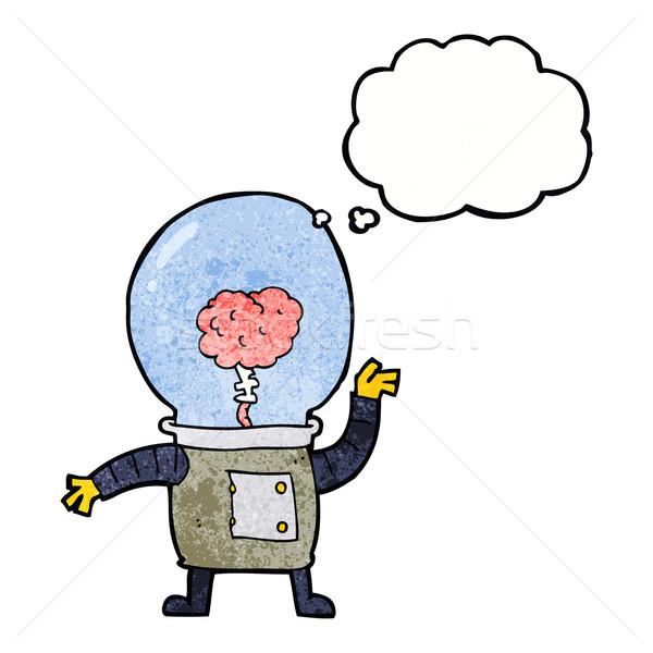 Cartoon robot cyborg bolla di pensiero mano design Foto d'archivio © lineartestpilot