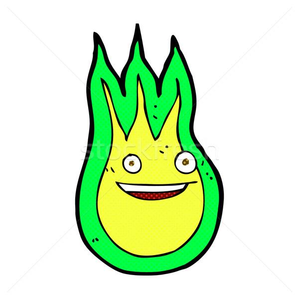 Cómico Cartoon amistoso bola de fuego retro Foto stock © lineartestpilot