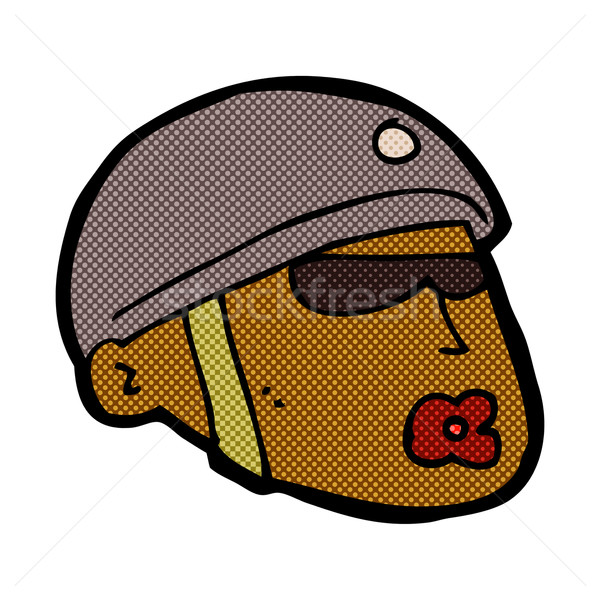 Komiks cartoon policjant głowie retro komiks Zdjęcia stock © lineartestpilot