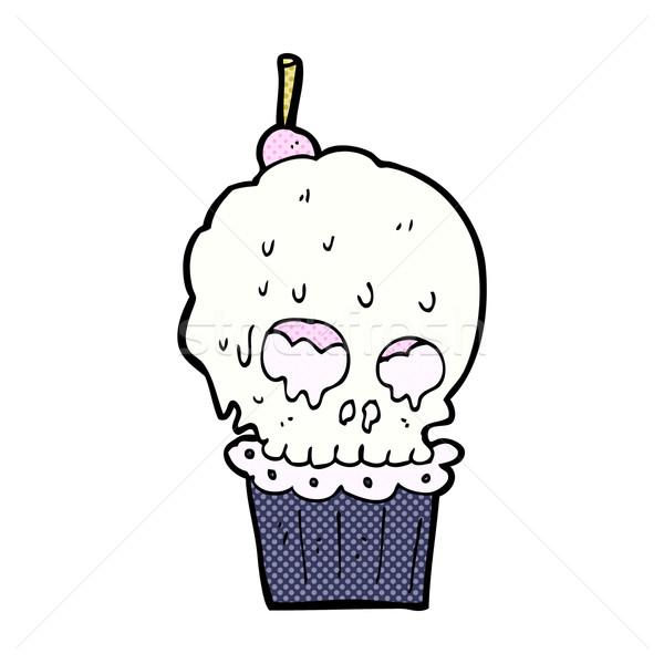 comic cartoon spooky skull cupcake Stock photo © lineartestpilot