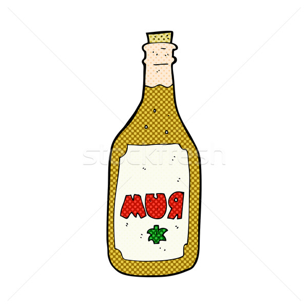 Stock photo: comic cartoon rum bottle